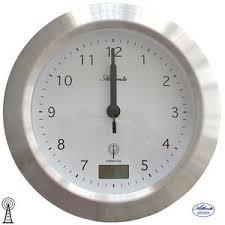 détails sur atlanta 47 horloge murale de salle bain radio argent badezimmer uhr thermomètre