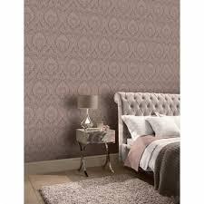 roségold schlafzimmer tapete möbel wand hintergrund braun