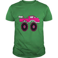 Pink Girl Woman Girl Female Monster Truck Cool Com T-Shirts