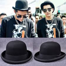 Modern Men Dress Hats Paris Fashion Wool Jazz Hat Dome Floppy Brim Fedora Black