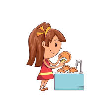 Royalty Free Girl Washing Dishes Clip Art