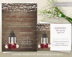 Lantern Wedding Invitation Set Marsala Wedding Rustic Wedding
