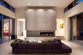 center fireplace living room modern with ceiling lighting