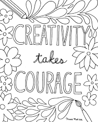 Coloring Book Page Download Creativity Takes Courage FREE