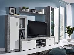 kryspol wohnwand bono anbauwand wohnzimmer set modern design beton weiß mit blauer led beleuchtung