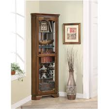 black corner curio cabinet with light oxford finish black corner