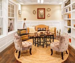 Photo A Round Rug Is Just The Softening Change Needed In Square Space With Sharp Angles Evident Windows Bookcases And Paneling