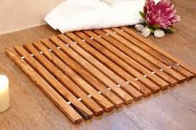 badematte olivenholz 45x40 holz badteppich badezimmermatt