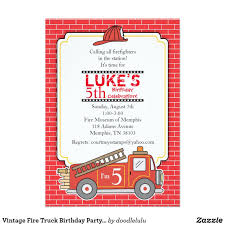 100 Fire Truck Birthday Party Invitations Vintage Invitation Truck Birthday