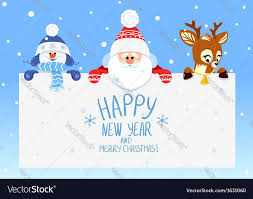 congratulation with Christmas and New Year Santa Claus with deer