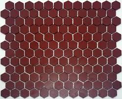 lyric unglazed porcelain hexagon mosaic tile in brick