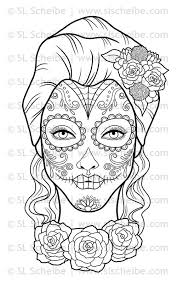 Pin Day Of The Dead Clipart Coloring Sheet 13