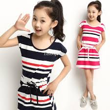 2018 2014 Hot Sell Kids Clothing Big Girl Cotton Dress With Pockets Pre Teen Navy Striped Vest Skirt Height 110 160cm From Easongoods 5227