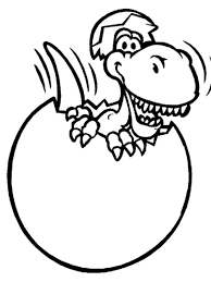 Scary Dinosaurus Broken Egg Colouring Page