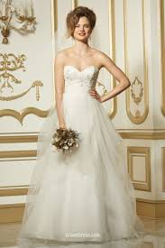 beaded lace bodice bridal gown with organza a line skirt