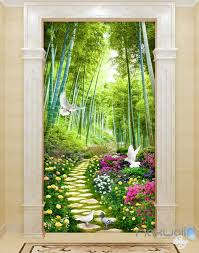 Wall Mural Decals Tree by 3d Flowers Birds Lane Forest Tree Corridor Entrance Wall Mural