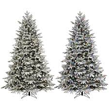 Pre Lit Pencil Christmas Tree Canada by Ge 7 5 Ft Pre Lit Alaskan Pine Flocked Artificial Christmas Tree