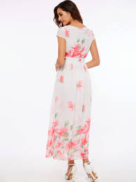 ericdress flower print expansion short sleeve maxi dress 12155535