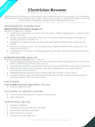 Electrician Resume Sample Master