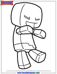 Minecraft Zombie Steve Coloring Page