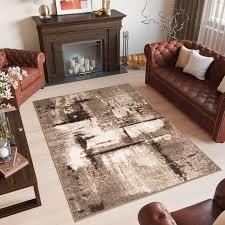 laila teppich modern kurzflor braun dunkelbraun creme abstrakt muster meliert verwischt design wohnzimmer schlafzimmer