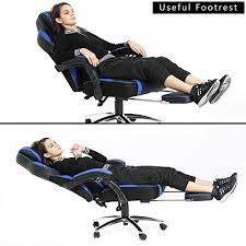 Reclining Gaming Chair With Footrest by Topsky High Back Racing Style Pu Leather Computer Gaming Office