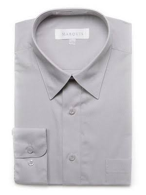 Marquis Men's Cotton Blend Dress Shirts - Regular Sizes - Silver