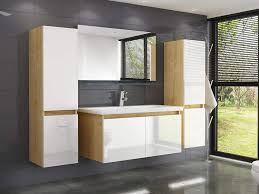 badmöbel set eiche weiss leonard 60 cm badezimmermöbel hochschrank waschtisch spiegel bad 6teilig