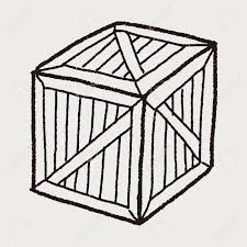 Wooden Box Black And White Clipart