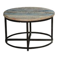 Bithlo Reclaimed Wood Top Round Industrial Coffee Table Coffee Table