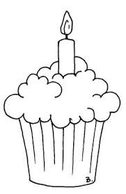Cupcake with candle clipart black and white