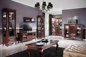 komplett wohnzimmer set massiv vitrine kommode tisch rtv klassisch royal verona