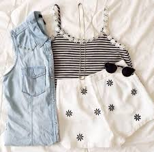Tank Top Daisy Black Stripes Striped Shirt White Style Fashion Tumblr Girly Summer