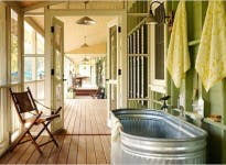 horse trough as a bathtub apartment therapy
