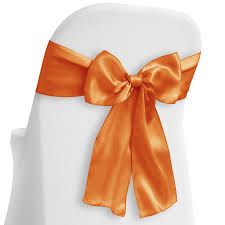 Lann's Linens - 10 Elegant Satin Wedding/Party Chair Cover Sashes/Bows -  Ribbon Tie Back Sash - Orange - Lann's Linens Us 429 New Year Party Decorations Santa Hat Chair Covers Cover Chairs Tables Chafing Dish And Garden Krush Linen Detroit Mi Equipment Rental Wedding Party Chair Covers Cheap Chicago 1 Rentals Of Chicago 30pcslot Organza 18 X 275cm Style Universal Cover For Sale Made In China Cute Children Cartoon Pattern Frozen Baby Birthday