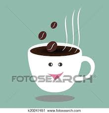 Clipart Of Hot Coffee Cup And Beanshappy Break Vector