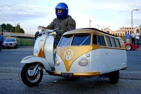 Vintage Vespa With Sidecar Volkswagen Badge