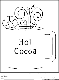 Printable Hot Cocoa Coloring For Kids