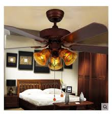 Ceiling Fan Lights Glass Lampshade Retro Dining Room Light American 42inch