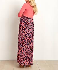 pinkblush maternity pinkblush coral u0026 navy damask maternity maxi