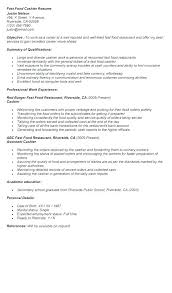 Restaurant Cashier Resume Sample Retail Fast Food R