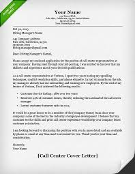 Call Center Cover Letter Example
