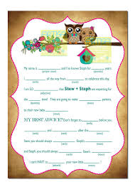 Halloween Mad Libs by Owls Baby Shower Mad Lib Spring Owls And Flower Baby Shower
