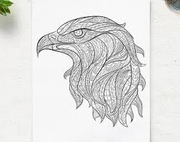 Printable Coloring Pages Eagle Head Animal Page Adult Book Antistress Zen