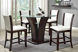 Round Pub Height Glass Dining Table Set