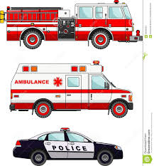 Fire Truck, Police And Ambulance Cars On Stock Vector - Illustration ...