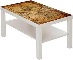 couchtisch tisch mit motiv bild weltkarte globus antik 3 farbe weiß