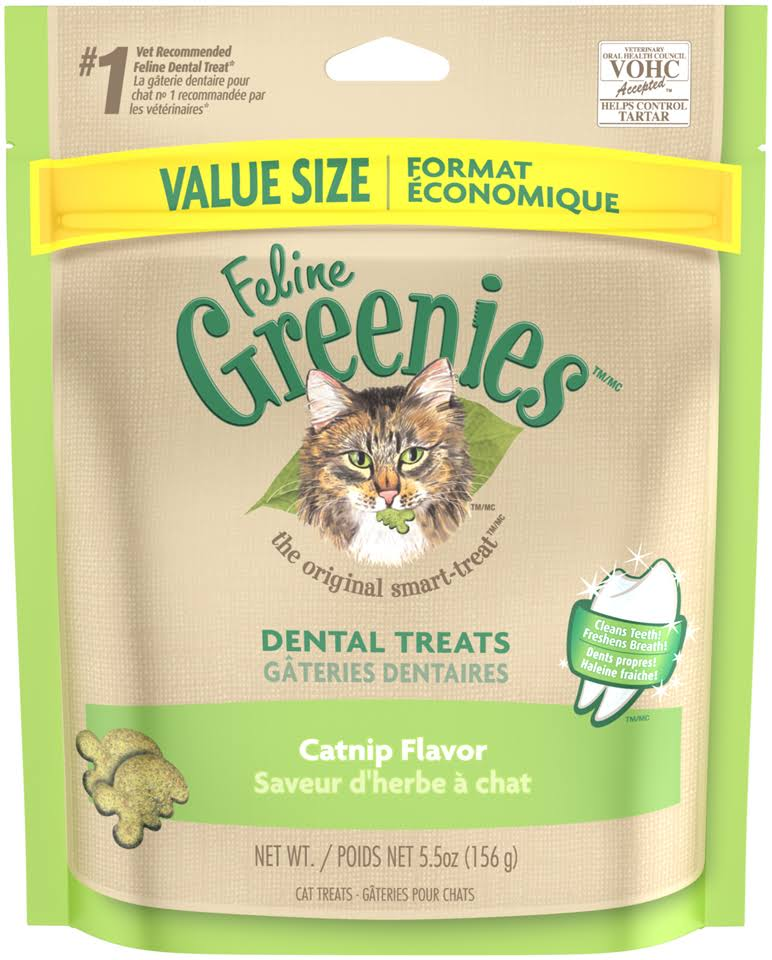 Feline Greenies Dental Cat Treats - Catnip, 5.5oz