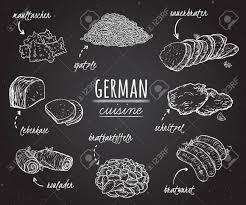 deutsche küche sammlung köstlichen speisen im einklang kunststil auf tafel konzeptentwurf für die dekoration restaurants ü vintage