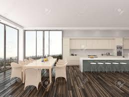 gehobenen offene küche und esszimmer mit einem modernen esstisch und stühlen vor der großen fenster ansicht mit einem städtischen sicht und einer